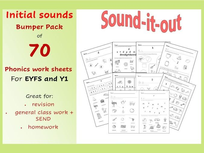 Initial Sounds Phonic Worksheets for Phases 2 and 3