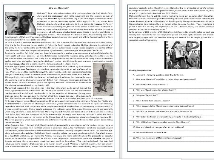 Malcolm X - His life and Work - Reading Comprehension and Vocabulary Worksheet