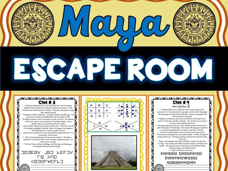 Maya ESCAPE ROOM: Mayan Civilization, Mexico and Hieroglyphics