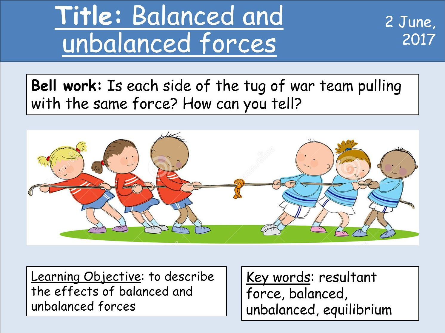 Year 7 Forces lesson 2 - Balanced and unbalanced forces by ...