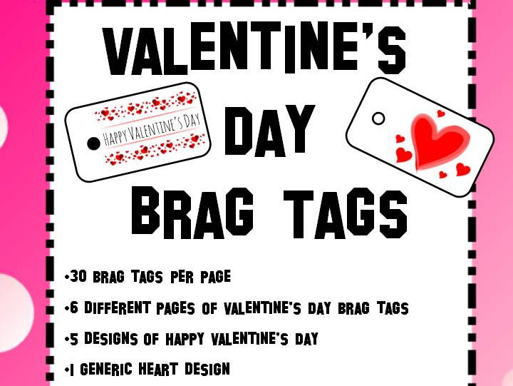 Valentine's Day Holiday Brag Tags