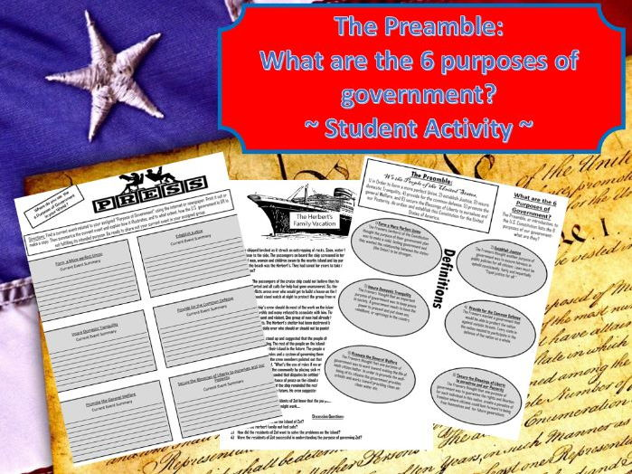 The Preamble: What are the 6 purposes ofU.S. Government Student Activity
