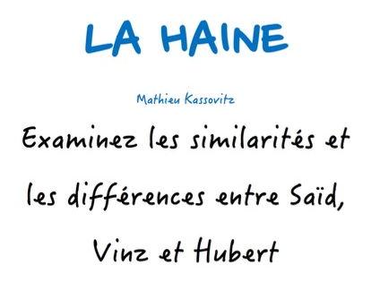A-LEVEL FRENCH  La Haine - Examinez les similarités et les différences entre Saïd, Vinz et Hubert
