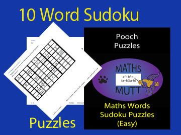 Easy Maths Words Sudoku Puzzles (Pooch Puzzles)