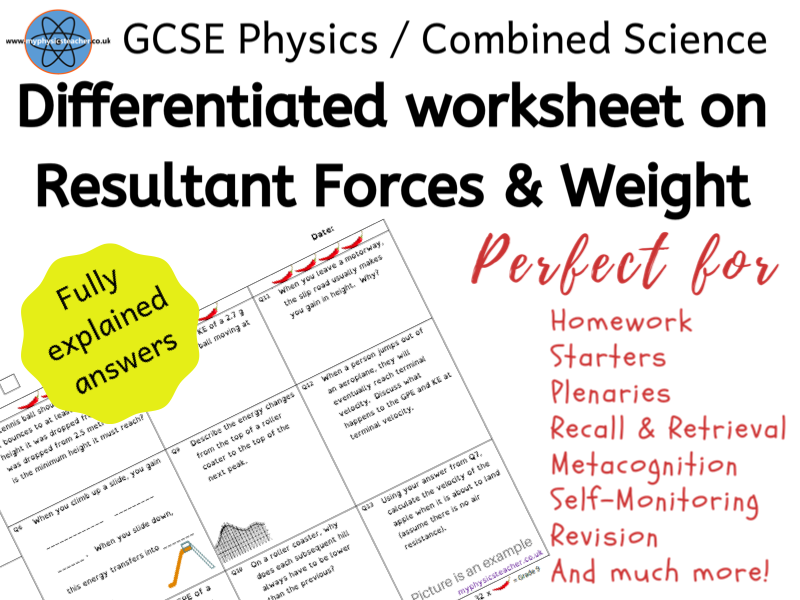 GCSE Physics and/or Combined Science Differentiated Equation Worksheet - Resultant Forces / Weight