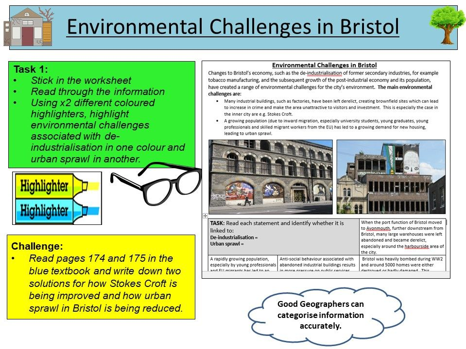 AQA GCSE Geography - Environmental Challenges and Opportunities in Bristol - x2 Lessons
