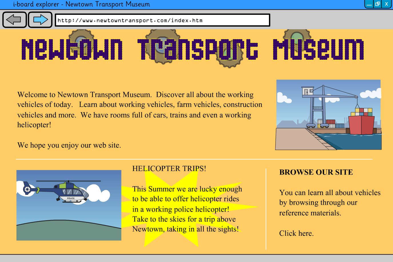 Interactive Information Website - Vehicles - KS2 Literacy