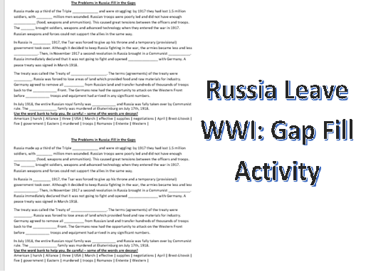 Russia Leave WWI: Gap Fill Activity