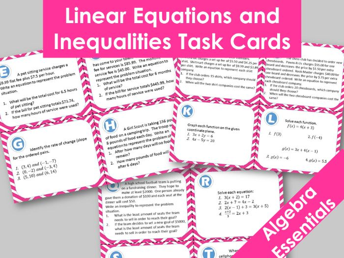 Set of 20 Linear Equations and Inequalities Task Cards, Including - word problems, solving and more
