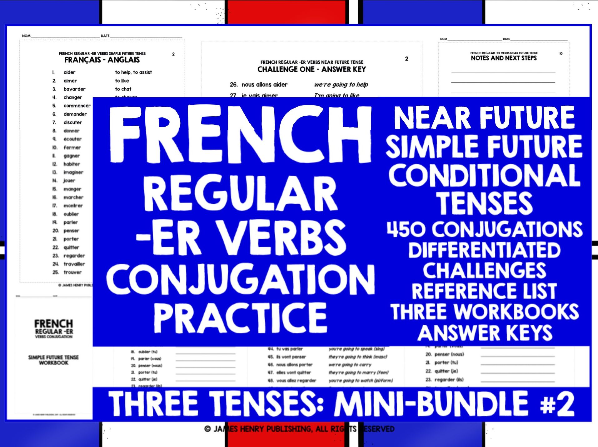 FRENCH -ER VERBS CONJUGATION MINI-BUNDLE #2