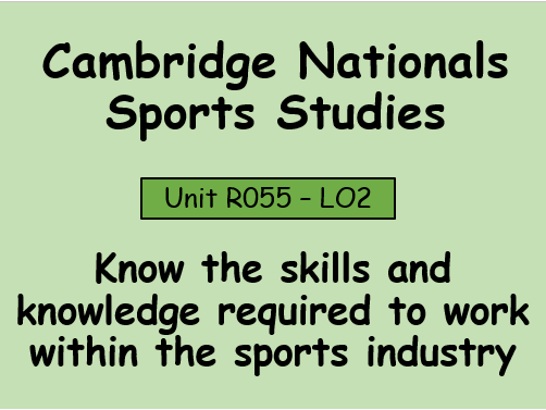 OCR-Sport Studies (R055) Working in the sports industry