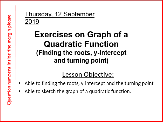 Sketching  quadratic function from its roots, y-intercept and turning point