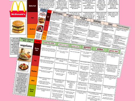 English KS4 Takeaway Homework Menus