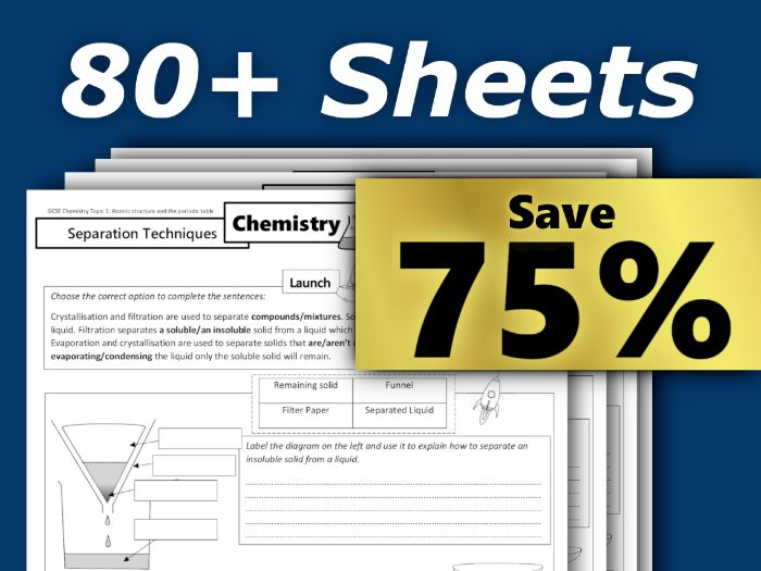 80 Homework Sheets Ultra Bundle GCSE Chemistry (AQA)