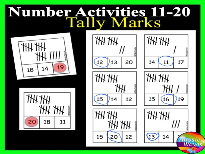 Printable Kinder Maths Centre Activity COUNTING NUMBERS 11-20 TALLY MARKS