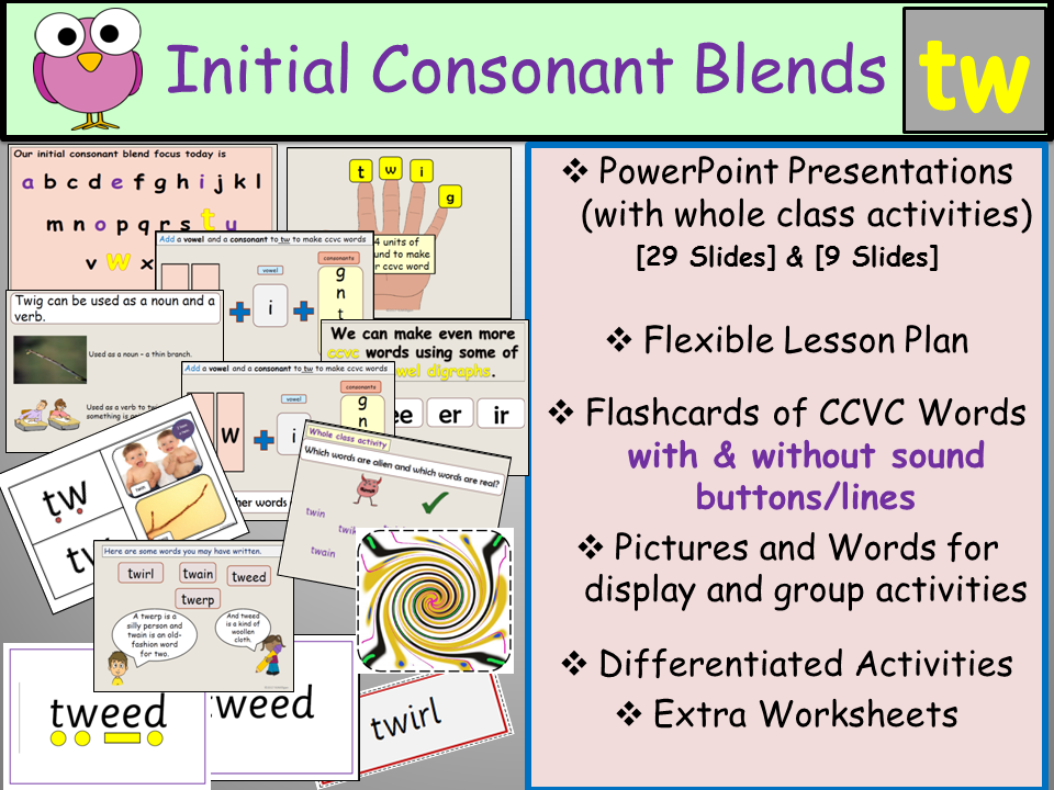Phonics: Initial Consonant Blend Tw CCVC Words, Presentations, Lesson Plan, Worksheets, Flashcards