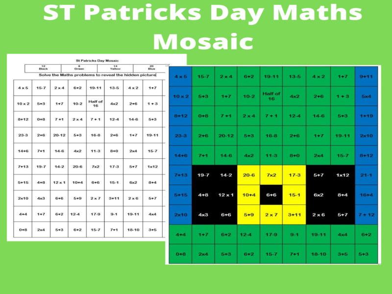 Primary Maths-St Patricks Day Mosaic