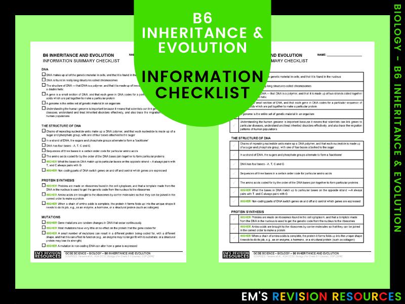 B6 Inheritance & Evolution [Information Checklist]