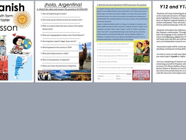 SPANISH A LEVEL TASTER LESSON -ARGENTINA and TANGO