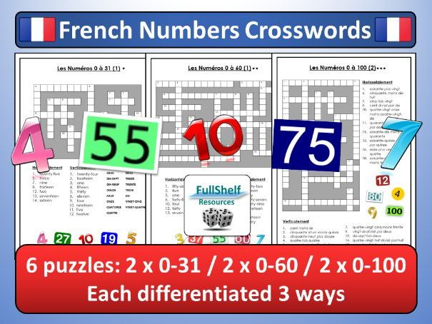 French Numbers (Les Numeros) Crosswords