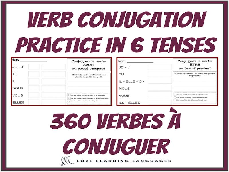 Verbes français à conjuguer - BUNDLE - 360 feuilles de travail