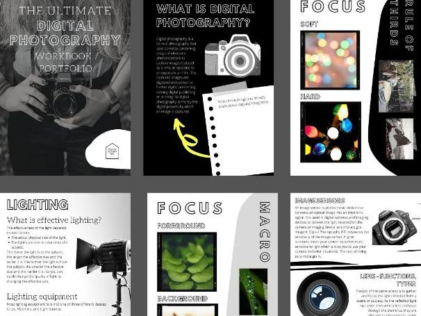 67 Page Introduction To Digital Photography Workbook/Portfolio | Printable & Digital