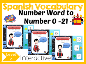 Spanish Halloween Number Game - Number words to Numbers 1 - 21 - No Print