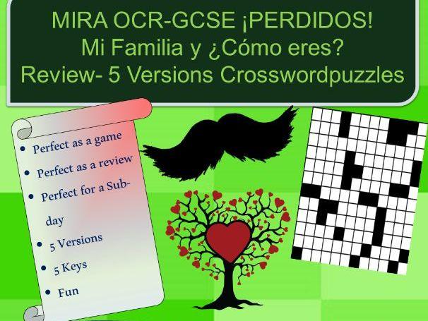 Mi Familia-Cómo Eres - Crossword puzzles