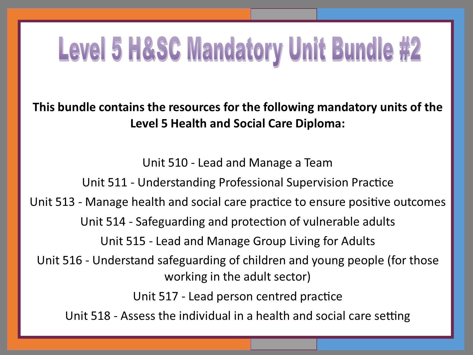 Level 5 H&SC: Mandatory Units Bundle #2