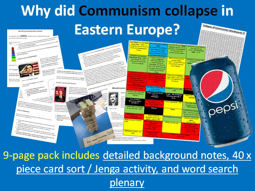 Collapse of Communism in Eastern Europe - 9-page full lesson (notes, card sort, jenga activity)