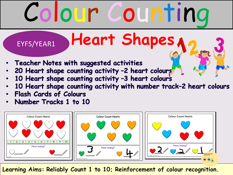 Colour Counting Heart Shapes 1-10, 40 Task Cards Activity/Colour Recognition, Flashcards EYFS/KS1