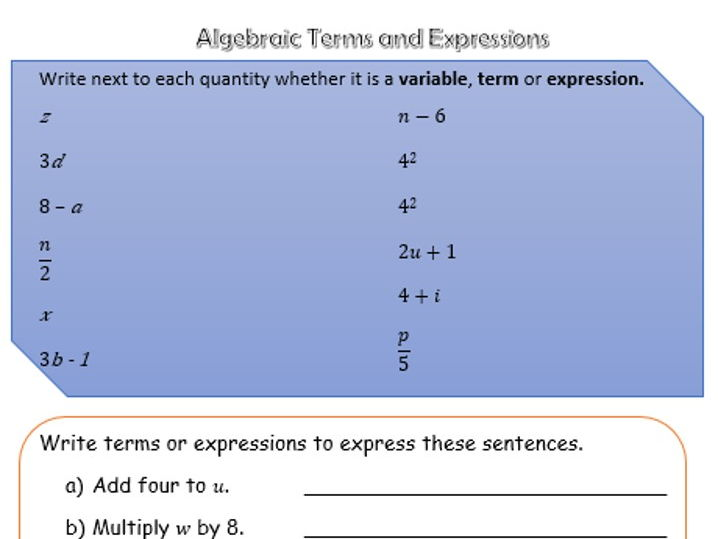 Algebraic Terms and Expressions
