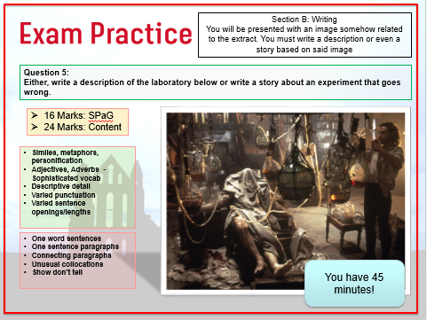 Gothic (Film/Lit) Scheme with GCSE English language Paper One Skills