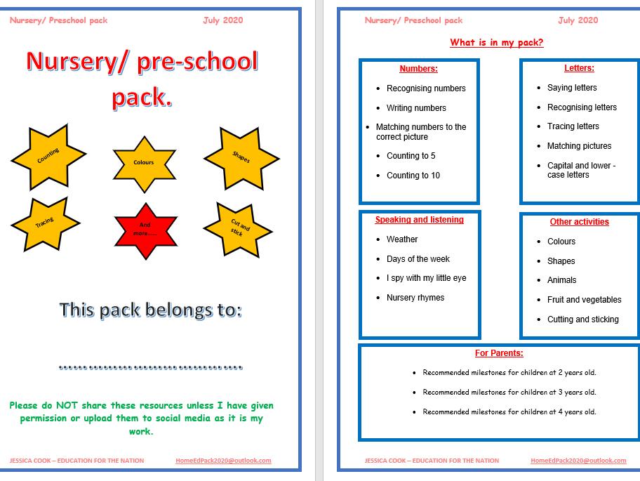Pre-school pack