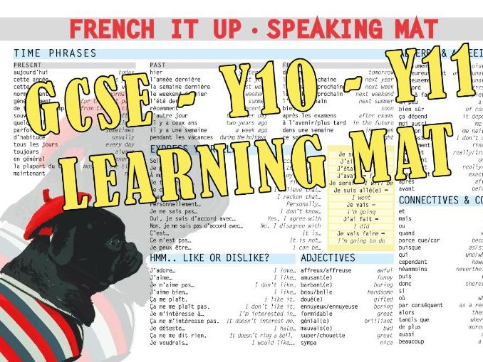 French speaking learning mat - Y10 Y11 GCSE Revisions
