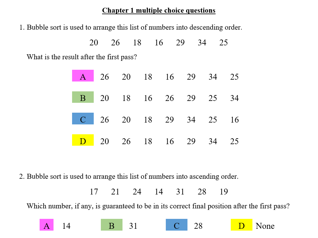 Resources to teach, practise and revise sorting and packing algorithms (D1)