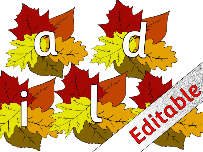 Autumn Leaves Alphabet posters/flashcards/display - Editable
