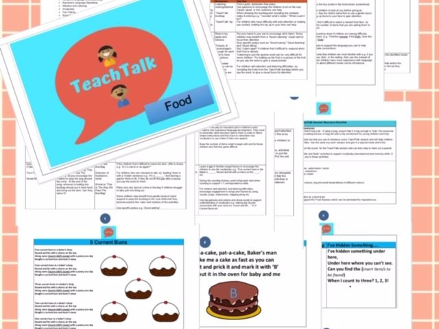 TeachTalk Food Themed Circle Time/1:1 Speech and Language Activity Sessions.