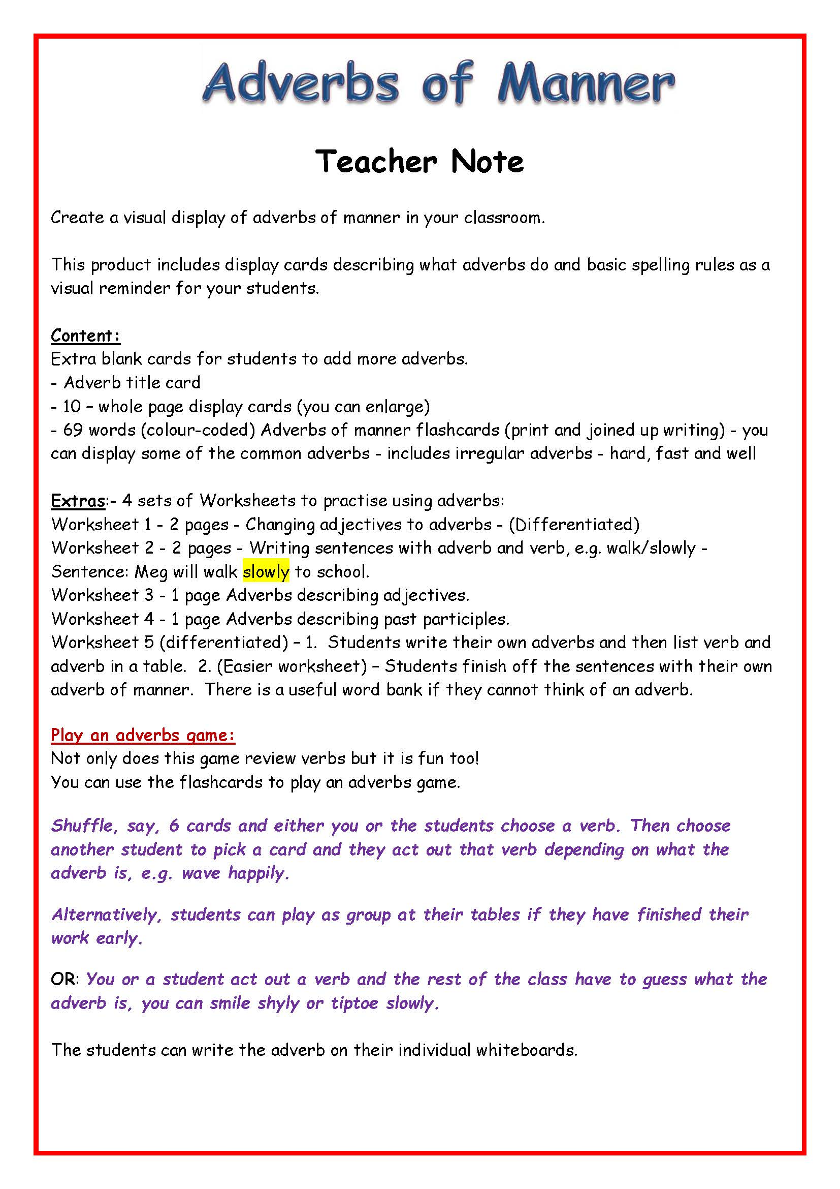 Adverbs And Adverbials Bundle Adverbs Of Manner Time Frequency Place Degree Worksheets Posters Flashcards Vocabulary Grammar Teaching Resources
