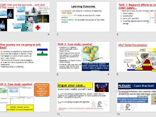 AQA GCSE RESOURCE MANAGEMENT - Sustainable Water Lesotho Large Scale  (Complete Lesson)