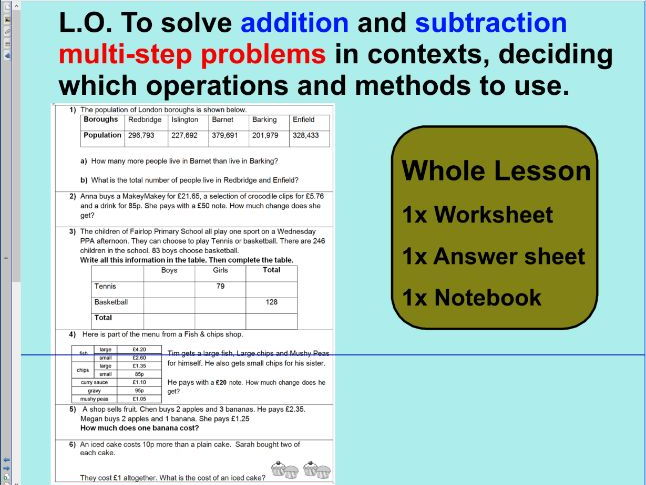 Whole Lesson - addition and subtraction multi-step problems - KS2