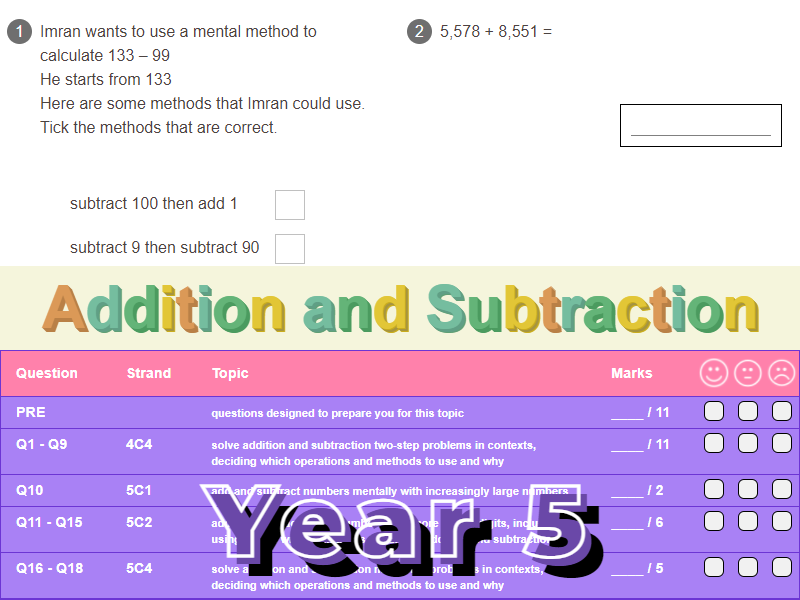 Addition and Subtraction Worksheet + Answers (KS2 - Year 5)