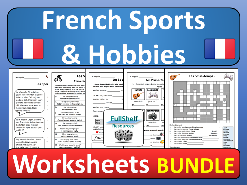 French Sports and Hobbies Worksheets BUNDLE