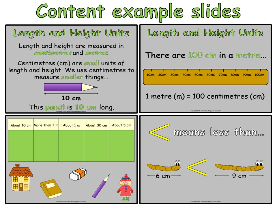 Measuring Length and Height - Year 2 (PowerPoint and worksheets)