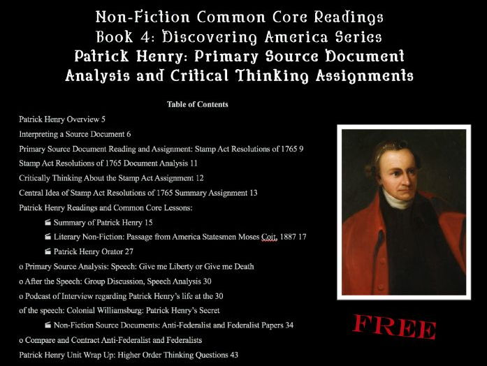 FREE Patrick Henry: Primary Source Document Analysis & Critical Thinking Assignments: 55 pages CCSS