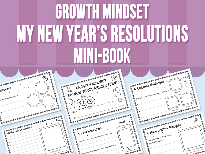 Growth Mindset - My New Year's Resolutions - Mini-Book