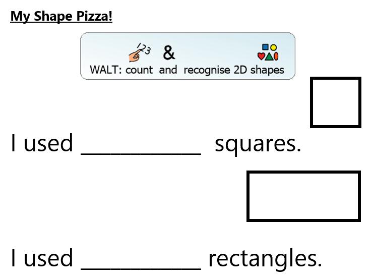2D shapes pizza activity