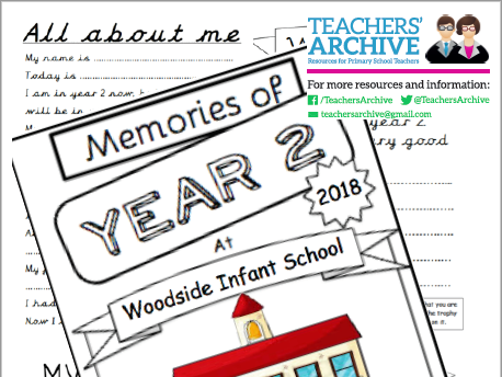 Year 2 End of Year Memory Work Book. Transition. *PLUS free Certificate templates*