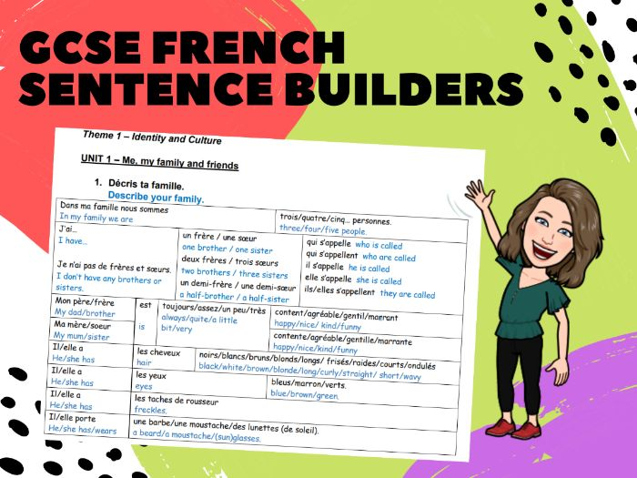 French AQA GCSE Sentence Builder Booklet ALL TOPICS