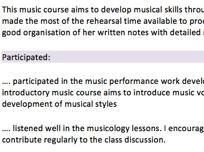 Junior music class report comments